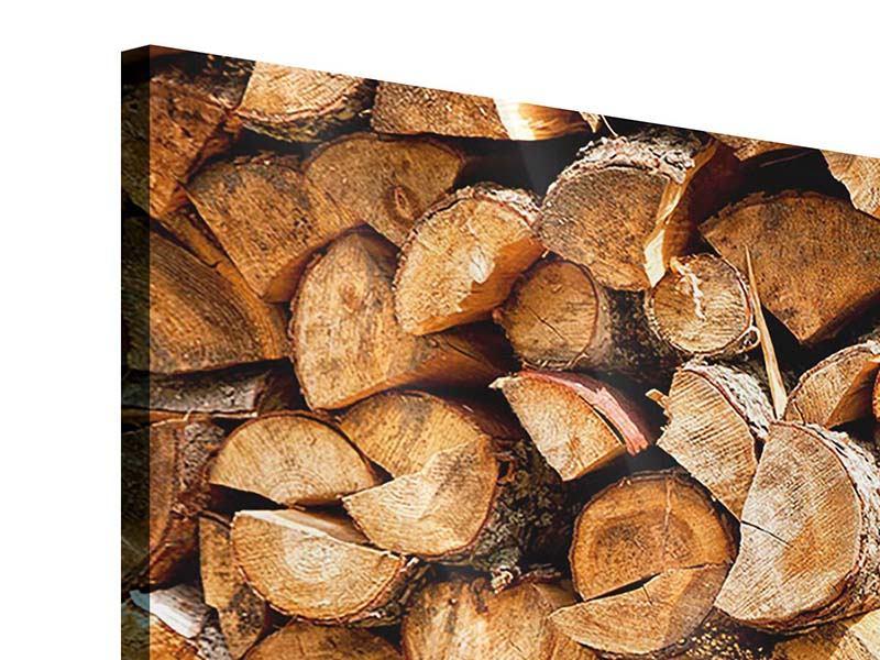 Panorama Acrylglasbild 3-teilig Gestapeltes Holz