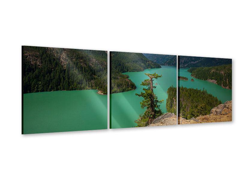 Panorama Acrylglasbild 3-teilig Diablo Bergsee