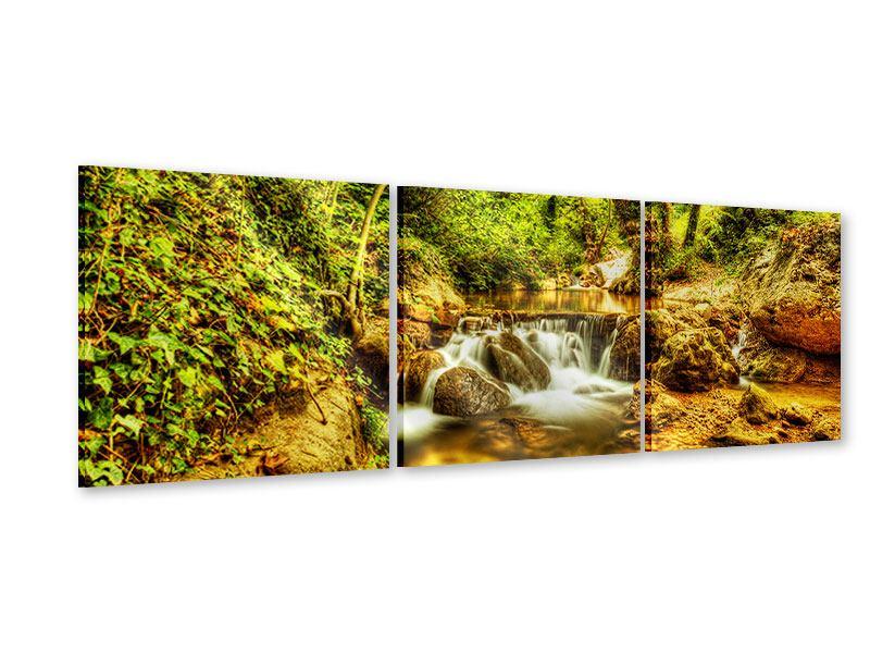Panorama Acrylglasbild 3-teilig Wasserfall im Wald