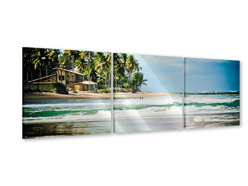 Panorama Acrylglasbild 3-teilig The Beach
