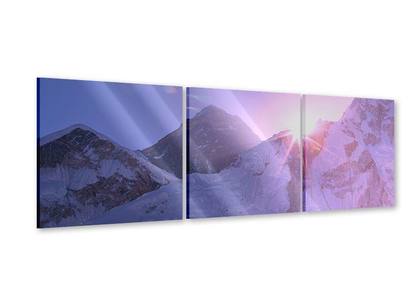 Panorama Acrylglasbild 3-teilig Sonnenaufgang beim Mount Everest