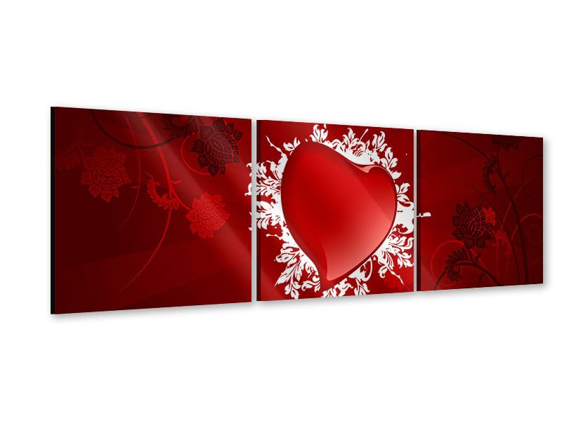 Panorama Acrylglasbild 3-teilig Flying Heart