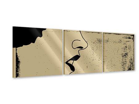 Panorama Acrylglasbild 3-teilig Frauenportrait im Grungestil