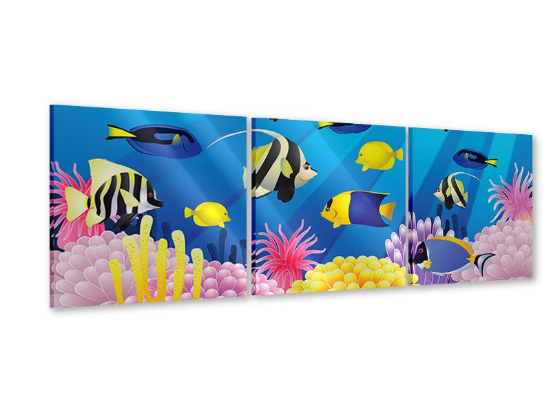 Panorama Acrylglasbild 3-teilig Kinder Unterwasserwelt