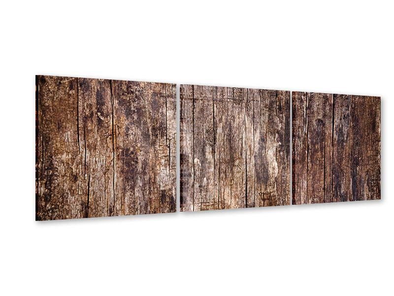 Panorama Acrylglasbild 3-teilig Retro-Holz