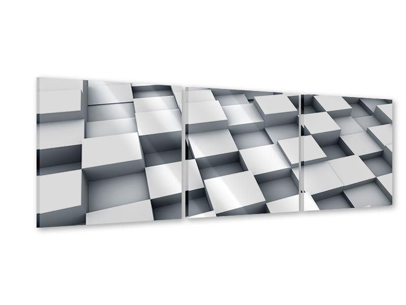 Panorama Acrylglasbild 3-teilig 3D-Kubus