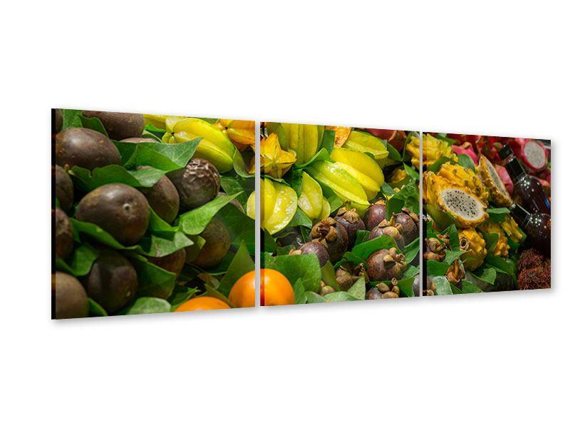 Panorama Acrylglasbild 3-teilig Früchte