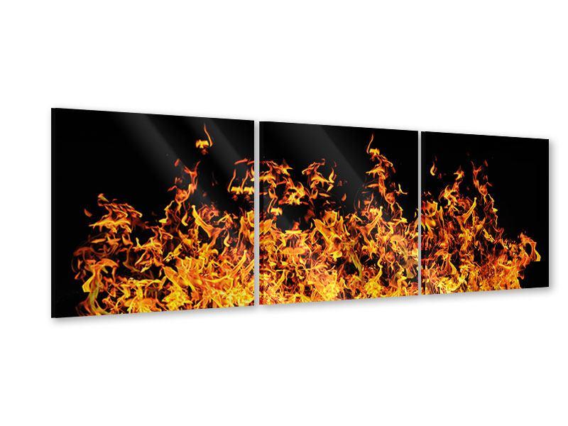 Panorama Acrylglasbild 3-teilig Moderne Feuerwand