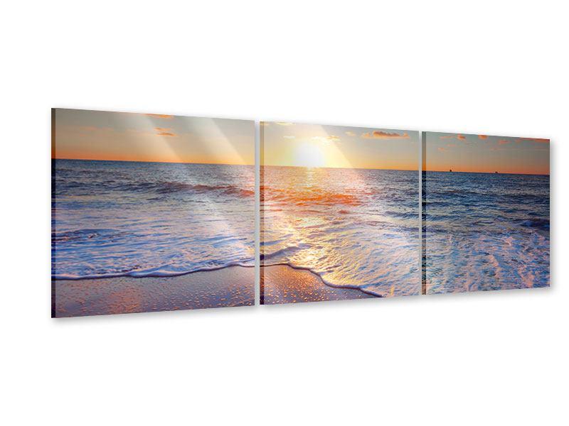 Panorama Acrylglasbild 3-teilig Sonnenuntergang am Horizont