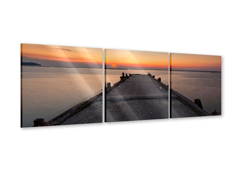 Panorama Acrylglasbild 3-teilig Der Steg