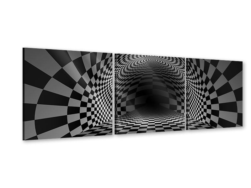 Panorama Acrylglasbild 3-teilig Abstraktes Schachbrett