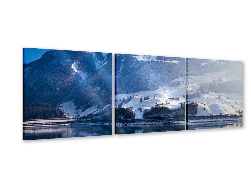 Panorama Acrylglasbild 3-teilig Winterwunderland