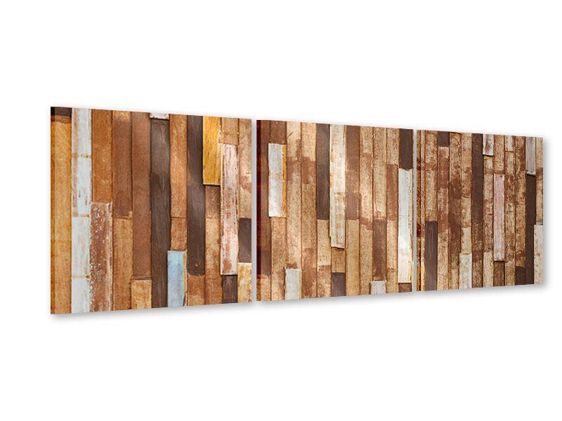 Panorama Acrylglasbild 3-teilig Designholz