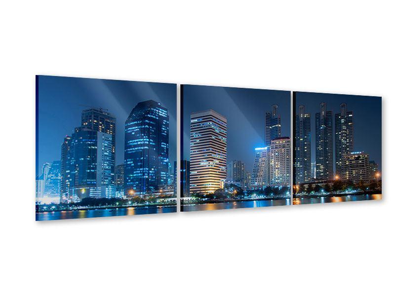 Panorama Acrylglasbild 3-teilig Skyline Bangkok bei Nacht