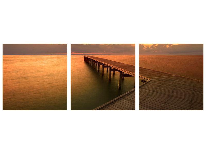Panorama Acrylglasbild 3-teilig Der Steg am Meer