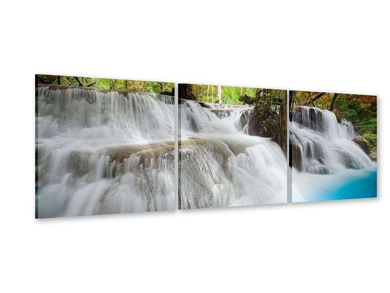Panorama Acrylglasbild 3-teilig Erawan Wasserfall