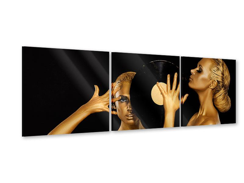 Panorama Acrylglasbild 3-teilig Gold-DJ`s