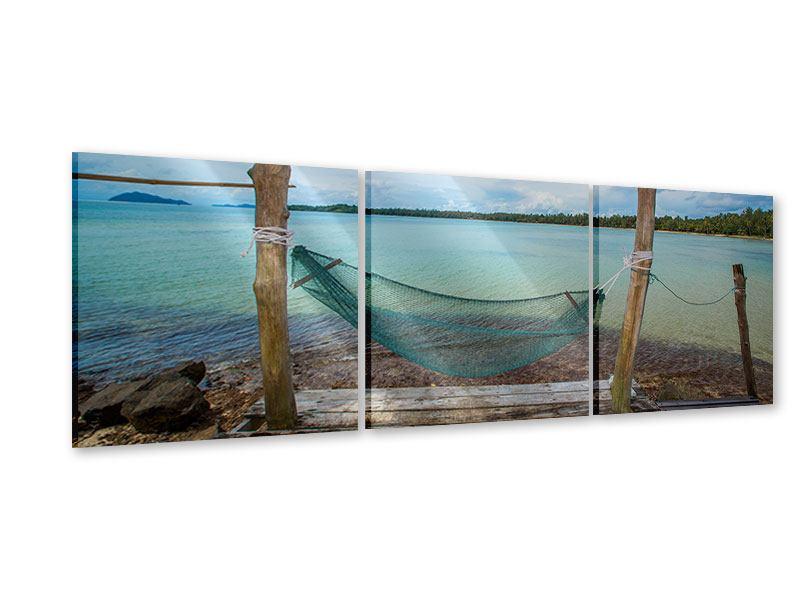 Panorama Acrylglasbild 3-teilig Hängematte