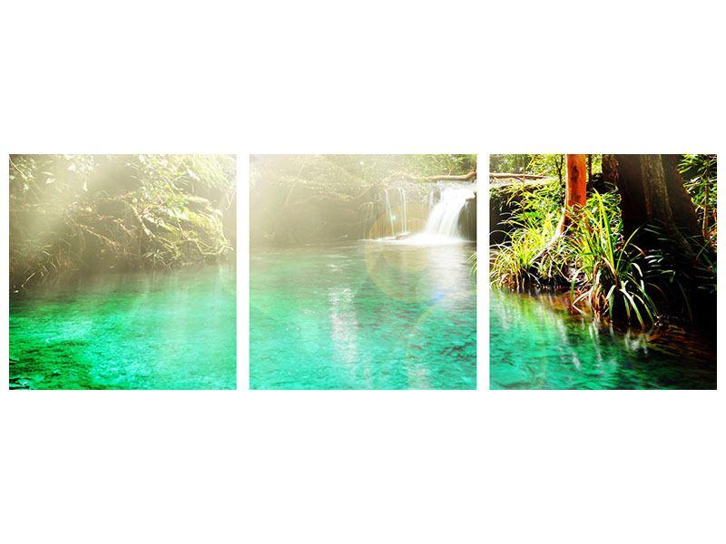 Panorama Acrylglasbild 3-teilig Die grüne Lagune