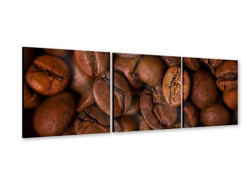 Panorama Acrylglasbild 3-teilig Close Up Kaffeebohnen