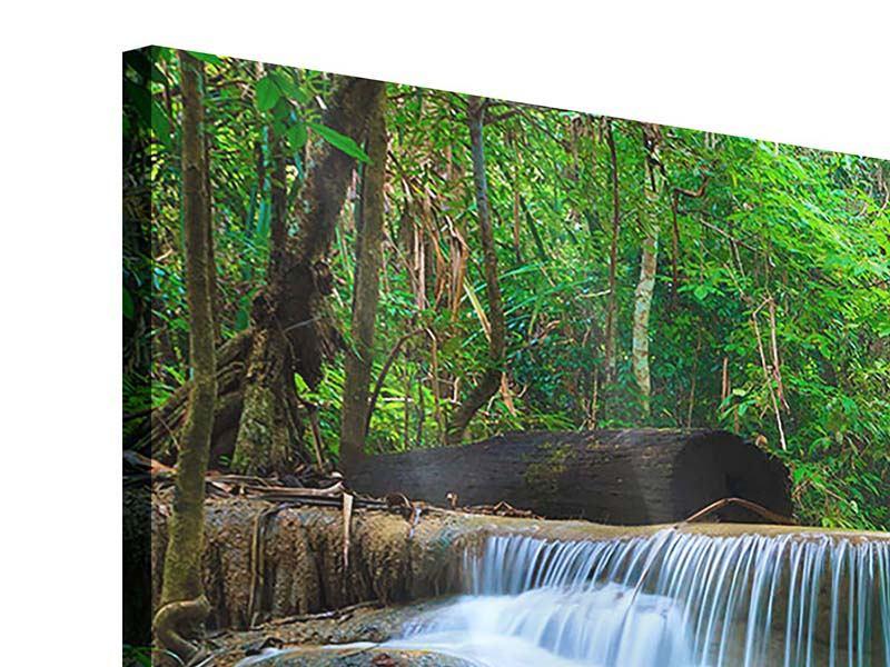 Panorama Acrylglasbild 3-teilig Kaskaden Huay Mae Khamin