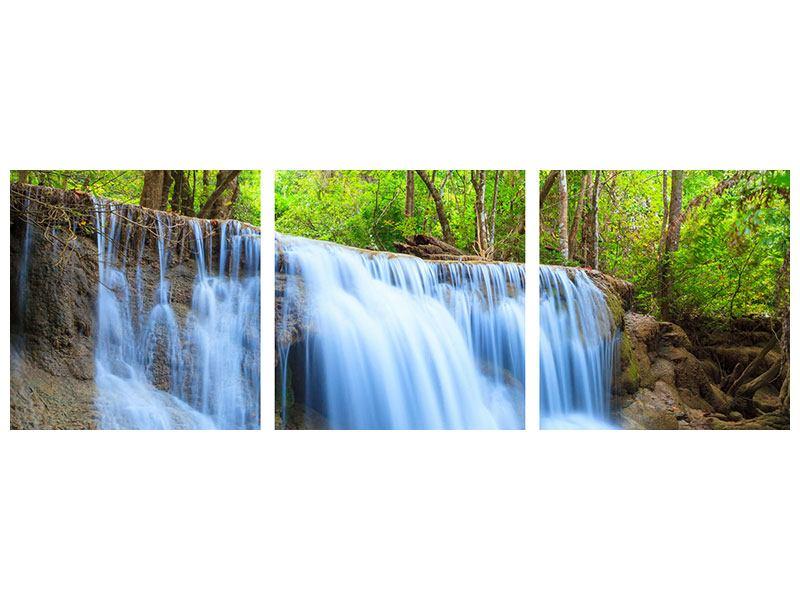 Panorama Acrylglasbild 3-teilig Wasserfall Si Nakharin