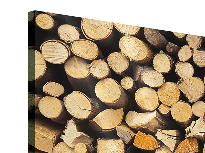Panorama Acrylglasbild 3-teilig Brennholz