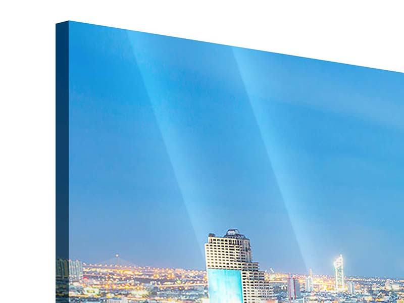 Panorama Acrylglasbild 3-teilig Skyline Bangkok bei Sonnenuntergang