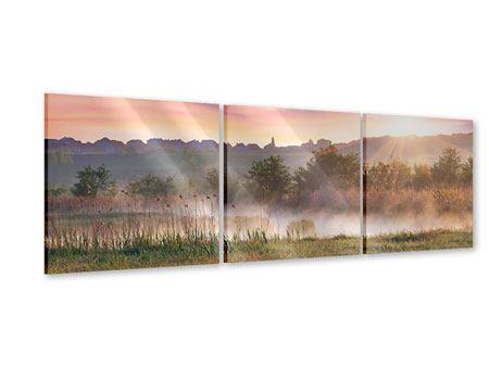 Panorama Acrylglasbild 3-teilig Sonnenuntergang am Hügel