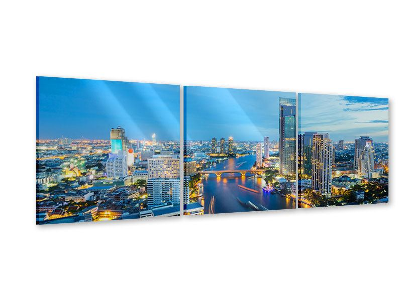 Panorama Acrylglasbild 3-teilig Skyline Bangkok in der Abenddämmerung