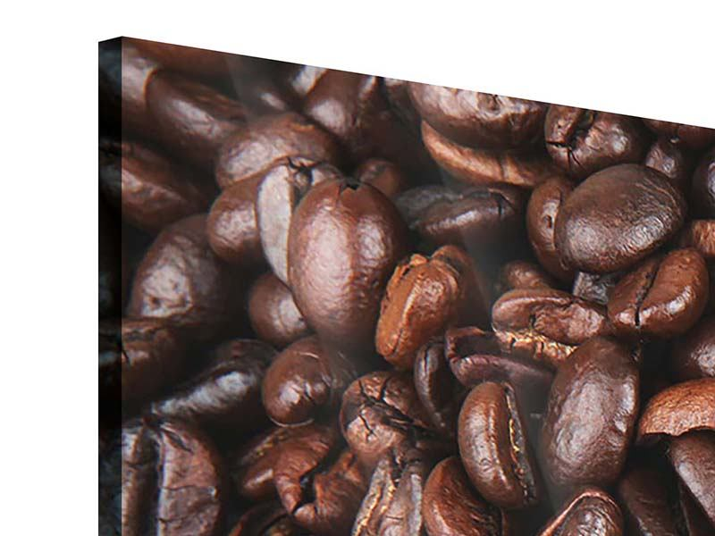 Panorama Acrylglasbild 3-teilig Kaffeebohnen in XXL