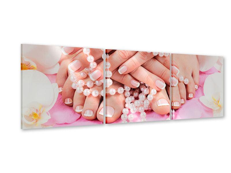 Panorama Acrylglasbild 3-teilig Hände und Füsse