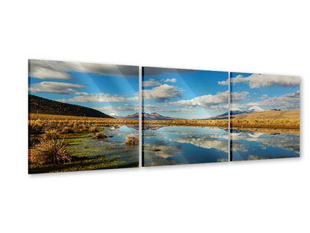Panorama Acrylglasbild 3-teilig Wasserspiegelung am See