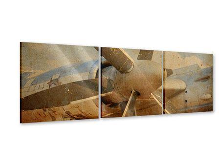 Panorama Acrylglasbild 3-teilig Propellerflugzeug im Grungestil