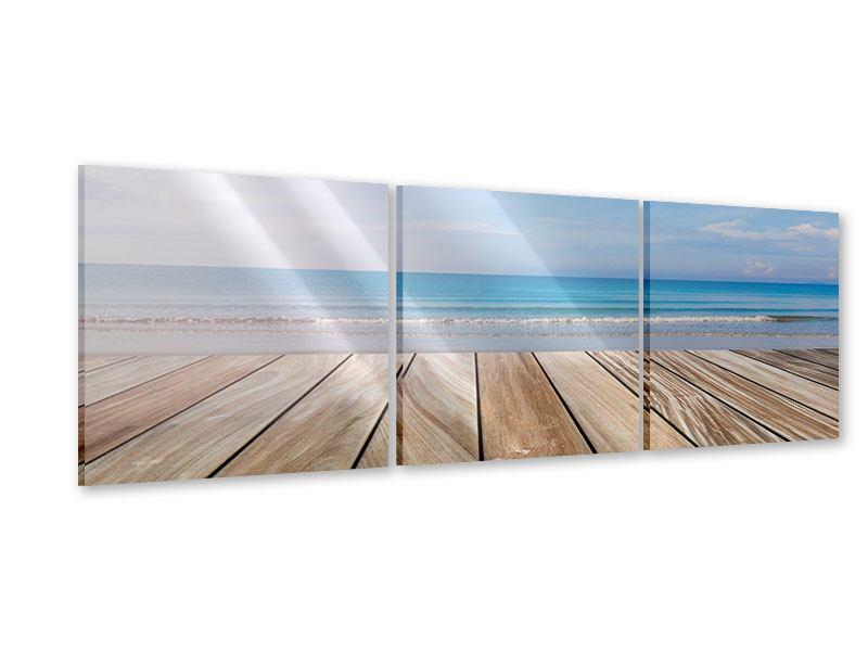 Panorama Acrylglasbild 3-teilig Das schöne Strandhaus