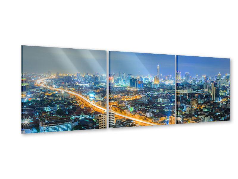 Panorama Acrylglasbild 3-teilig Skyline Bangkok im Fieber der Nacht