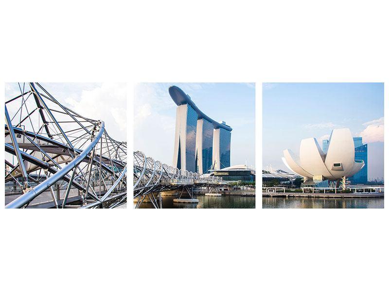 Panorama Acrylglasbild 3-teilig Singapur
