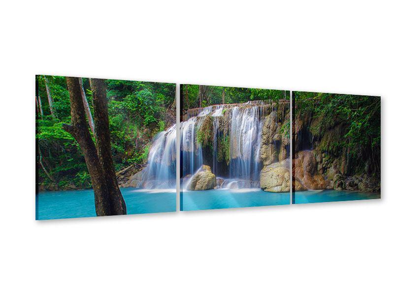 Panorama Acrylglasbild 3-teilig Naturerlebnis Wasserfall