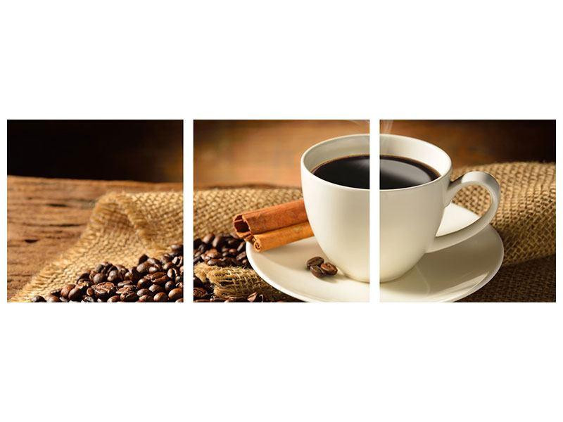 Panorama Acrylglasbild 3-teilig Kaffeepause