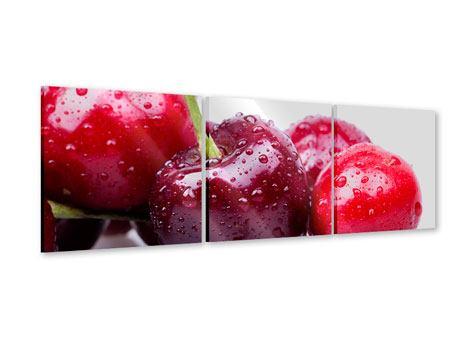 Panorama Acrylglasbild 3-teilig Kirschen