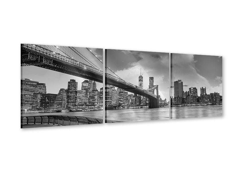 Panorama Acrylglasbild 3-teilig Skyline Schwarzweissfotografie Brooklyn Bridge NY