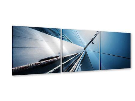 Panorama Acrylglasbild 3-teilig Segelschiff Close Up