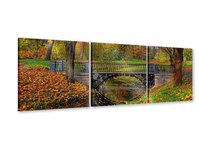 Panorama Acrylglasbild 3-teilig Romantischer Park