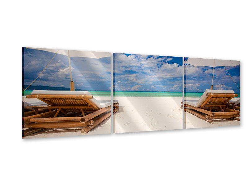 Panorama Acrylglasbild 3-teilig Liegen am Strand