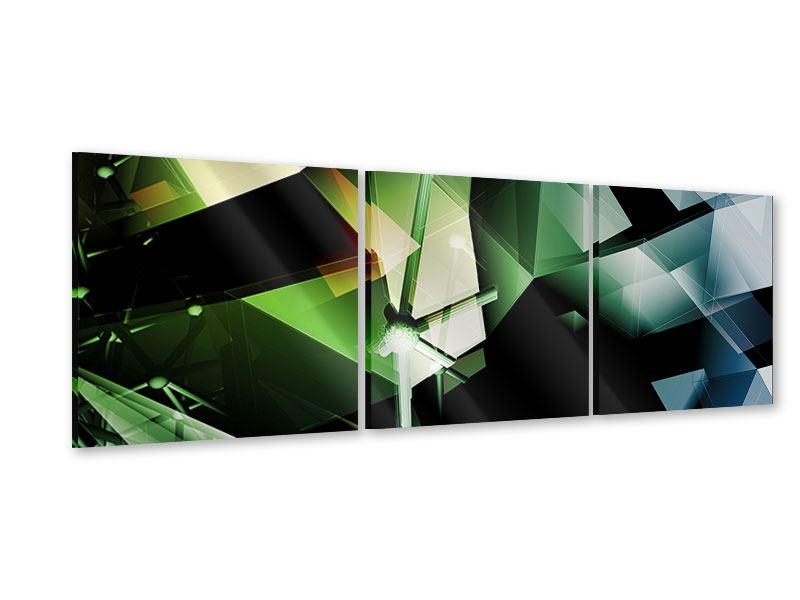 Panorama Acrylglasbild 3-teilig 3D-Polygon