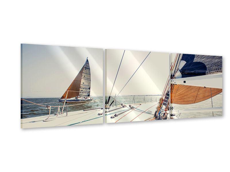 Panorama Acrylglasbild 3-teilig Segelyacht