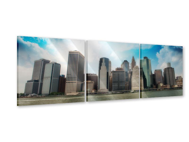 Panorama Acrylglasbild 3-teilig Skyline Lower Manhattan