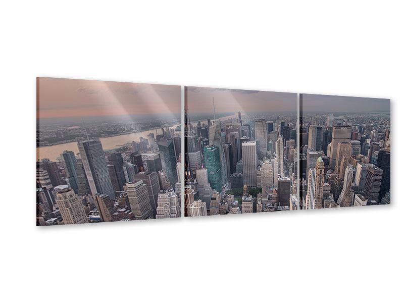 Panorama Acrylglasbild 3-teilig Skyline Blick über Manhattan