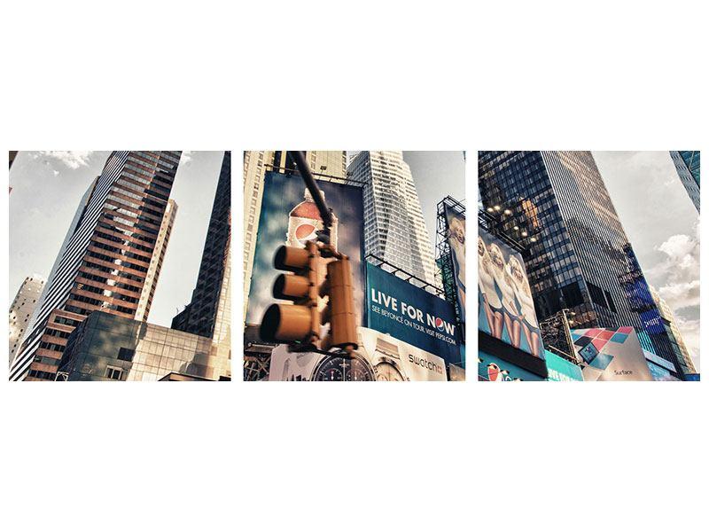 Panorama Acrylglasbild 3-teilig Times Square