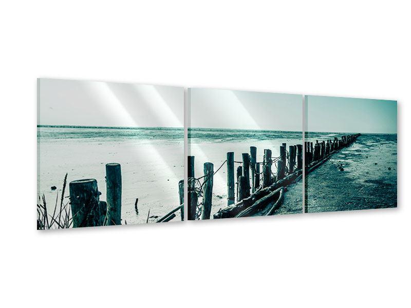 Panorama Acrylglasbild 3-teilig Das Wattenmeer